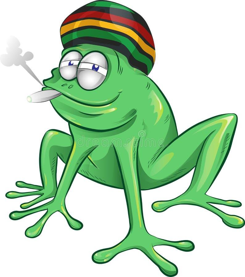 Lustige jamaikanische Froschkarikatur lizenzfreie abbildung