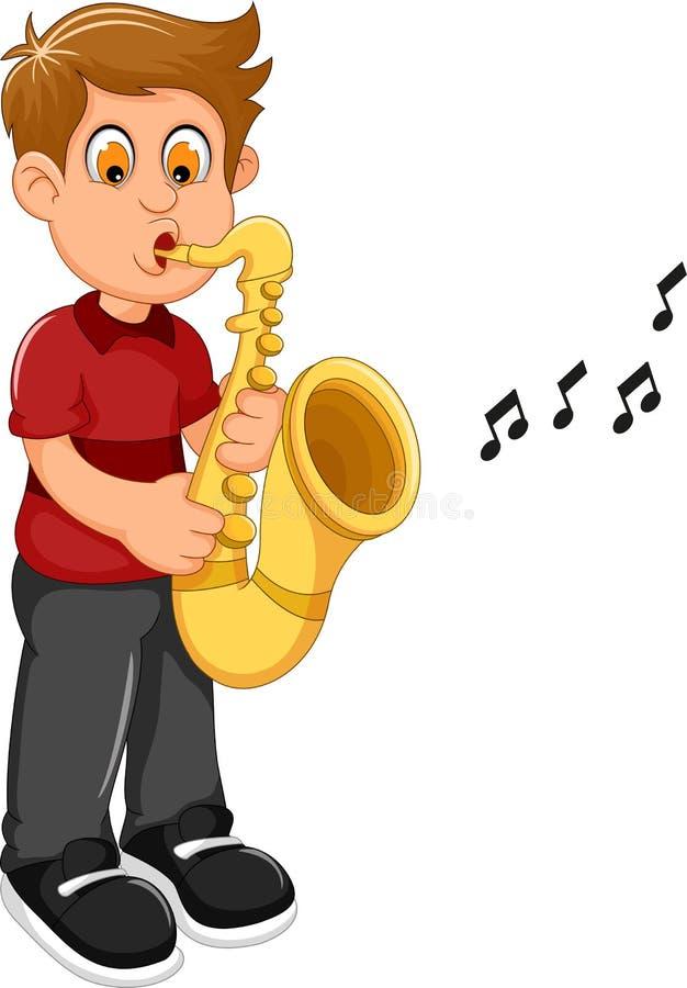 Lustige Jungenkarikatur, die Trompete spielt lizenzfreie abbildung