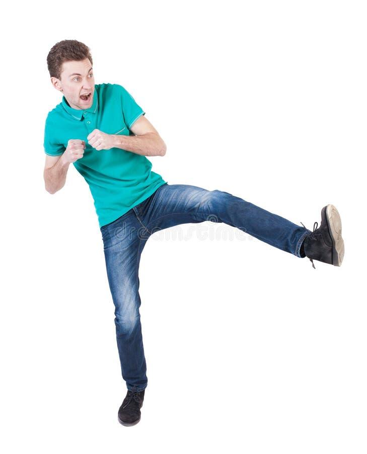 Lustige Kämpfe des dünnen Kerls, die seine Arme und Beine wellenartig bewegen stockfotografie