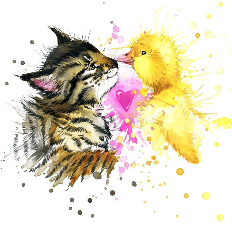 Lustige Kätzchen- und Entenaquarellillustration vektor abbildung