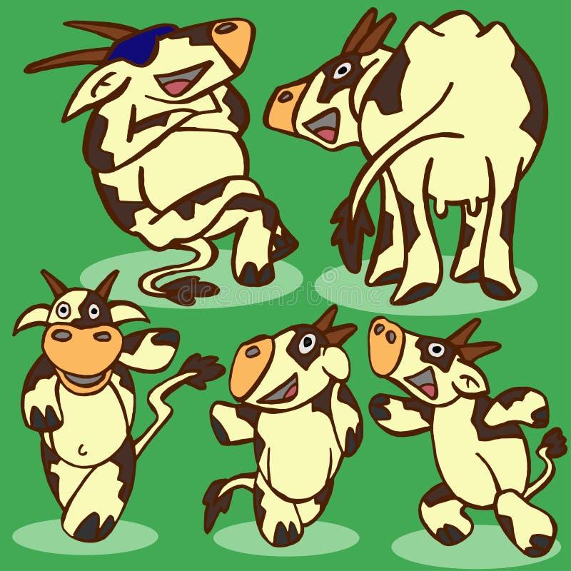 Lustige Kühe stock abbildung. Illustration von grün, wildnis - 80805256