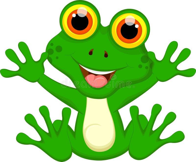 Lustige Karikatur des grünen Frosches lizenzfreie abbildung