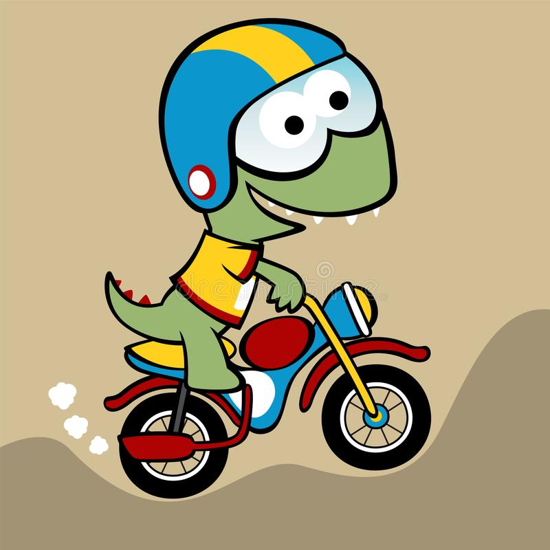 Lustige Karikatur des kleinen Monsterradfahrers stock abbildung