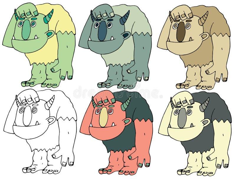 Lustige Karikatur gef?rbt, handgemachten Gekritzel-Monsterausl?ndern des abgehobenen Betrages dummen Butzkopf zu schreiben vektor abbildung