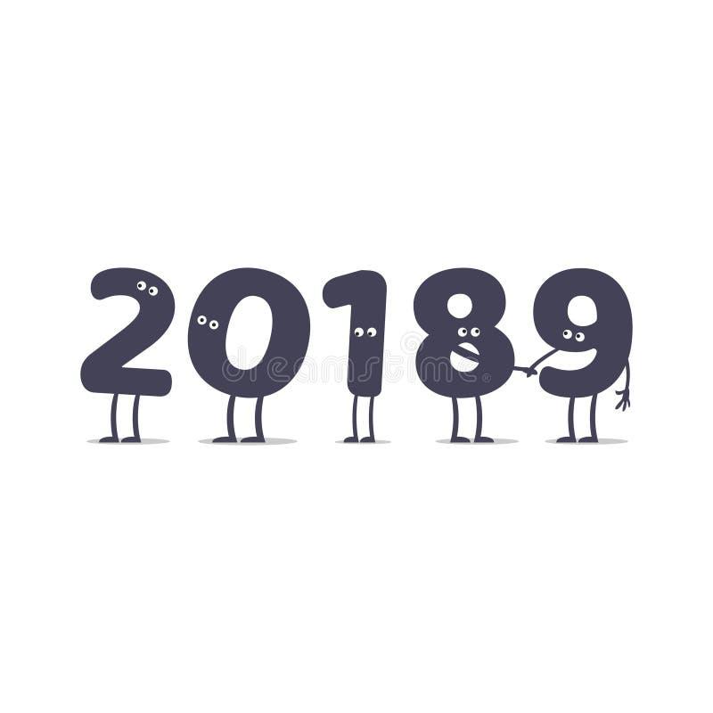 Lustige Karikatur 2019 Illustration neuen Jahres lokalisiert auf weißem Hintergrund stock abbildung