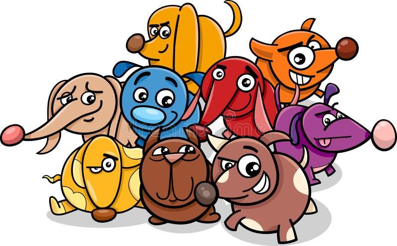Lustige Karikaturhundecharaktere stock abbildung