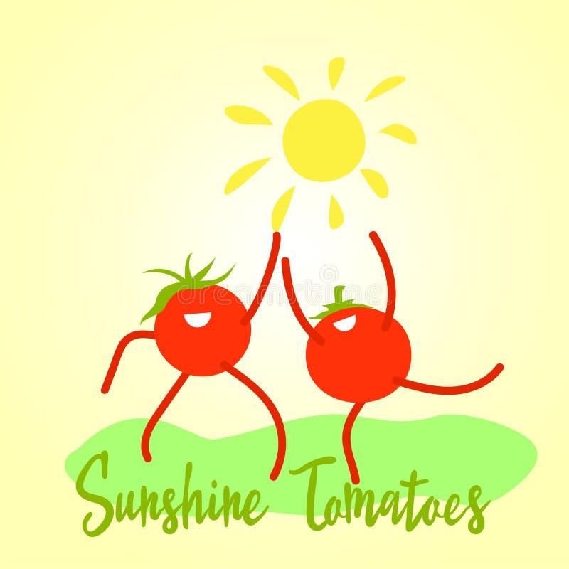Lustige Karikatursonnenscheintomaten unter der Sonne Feier der Ernte, eine Umsatzsteigerung des Tomatenkonzeptes positiv lizenzfreie abbildung