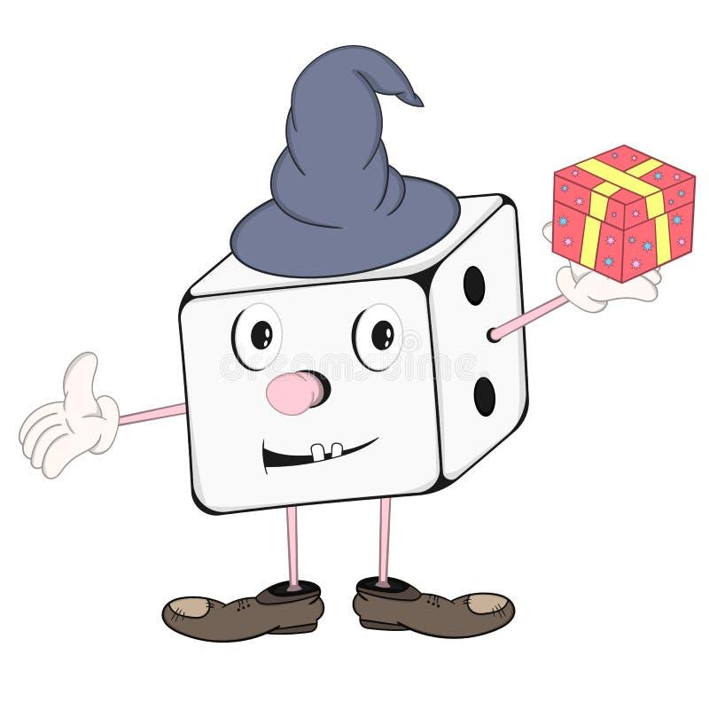 Lustige Karikaturwürfel im Zaubererhut mit den Augen, Händen und Füßen, die eine Geschenkbox in seiner Hand und in Lächeln halten vektor abbildung