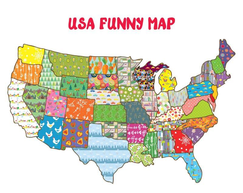 Lustige Karte Vereinigter Staaten mit Mustern lizenzfreie abbildung