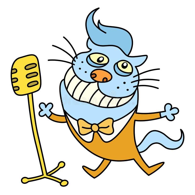 Lustige Katze, die ein Lied singt Auch im corel abgehobenen Betrag vektor abbildung