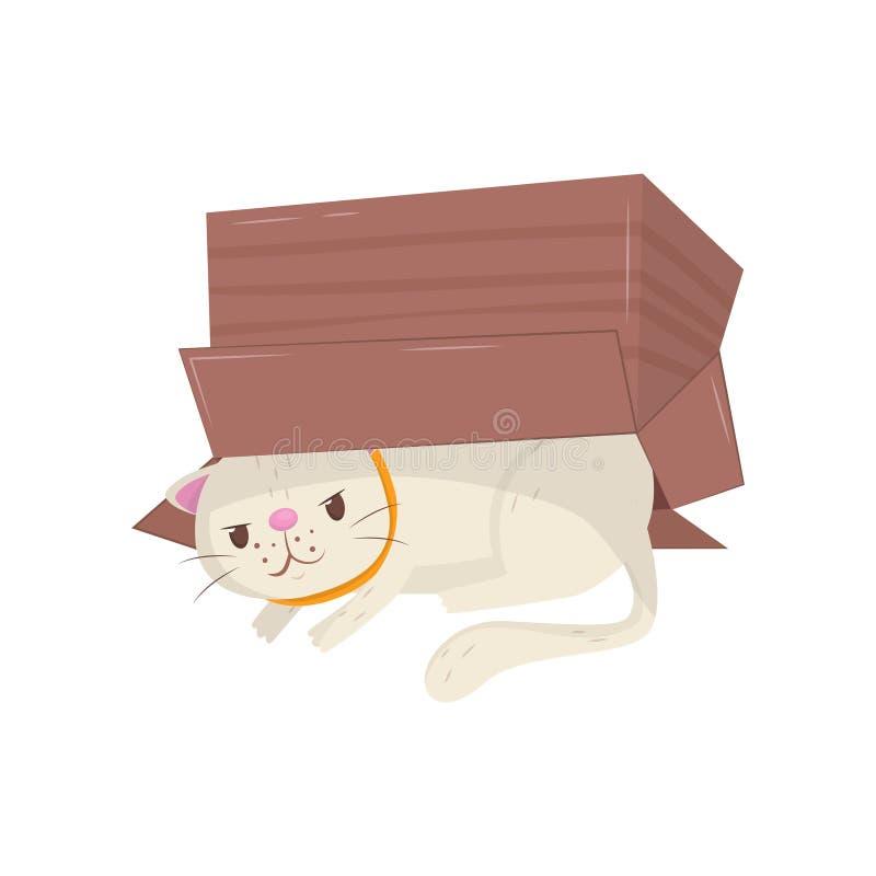 Lustige Katze, die unter Pappschachtel sich versteckt Kätzchen mit schlauem Mündungsausdruck Haustier Flaches Vektorelement für stock abbildung