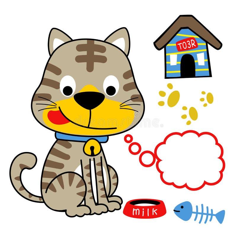 Lustige KatzenFrühstückszeit mit Milch und der Fischgräte lizenzfreie abbildung