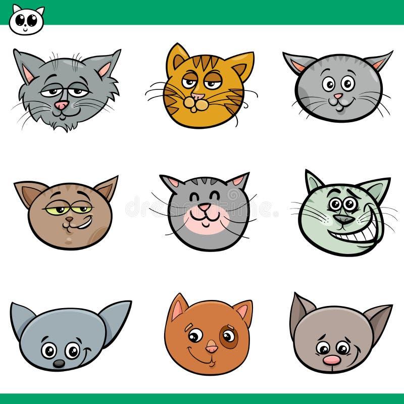 Lustige Katzenköpfe stellten Karikaturillustration ein vektor abbildung