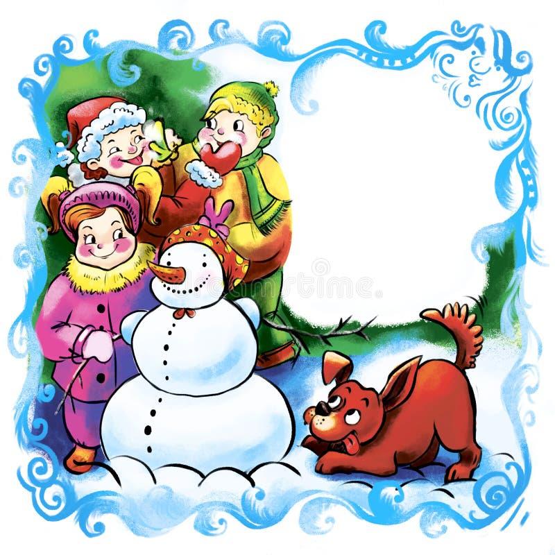 Lustige Kinder des Winters machen einen Schneemann mit einem Hund Grußkarte für ein neues Jahr oder ein Weihnachten, ein Platz fü lizenzfreie abbildung