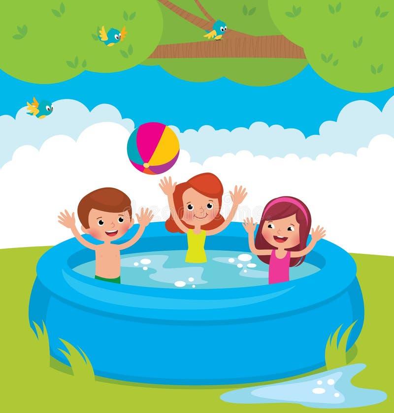 Lustige Kinder, die im Pool im Freien baden vektor abbildung