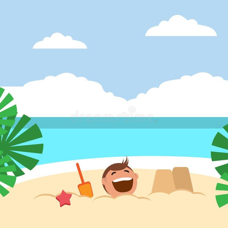 Lustige Kinder, die Sandburg errichten und auf dem Strand spielen vektor abbildung