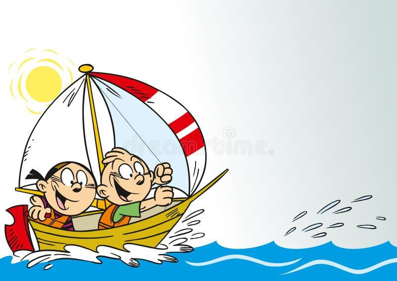 Lustige Kinder in einem Boot stock abbildung
