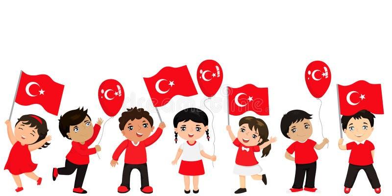 Lustige Kinder von verschiedenen Rennen mit verschiedenen Frisuren mit Flaggen Grafikdesign zum türkischen Feiertag vektor abbildung