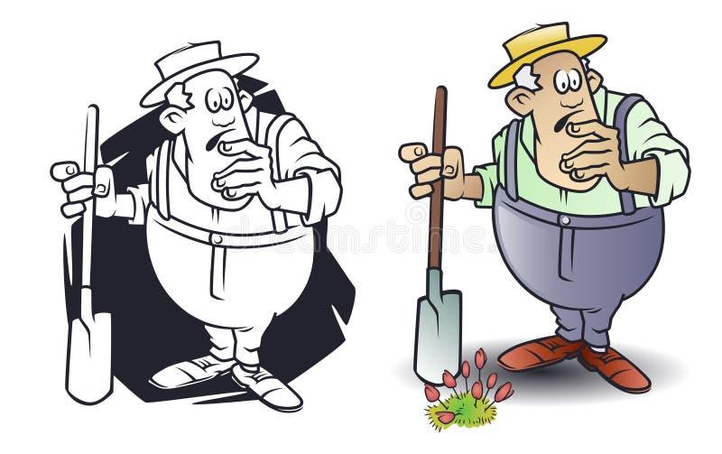 Lustige kleine M?nner Verwirrter älterer Mann mit Schaufel Gartenarbeit im Garten lizenzfreie abbildung