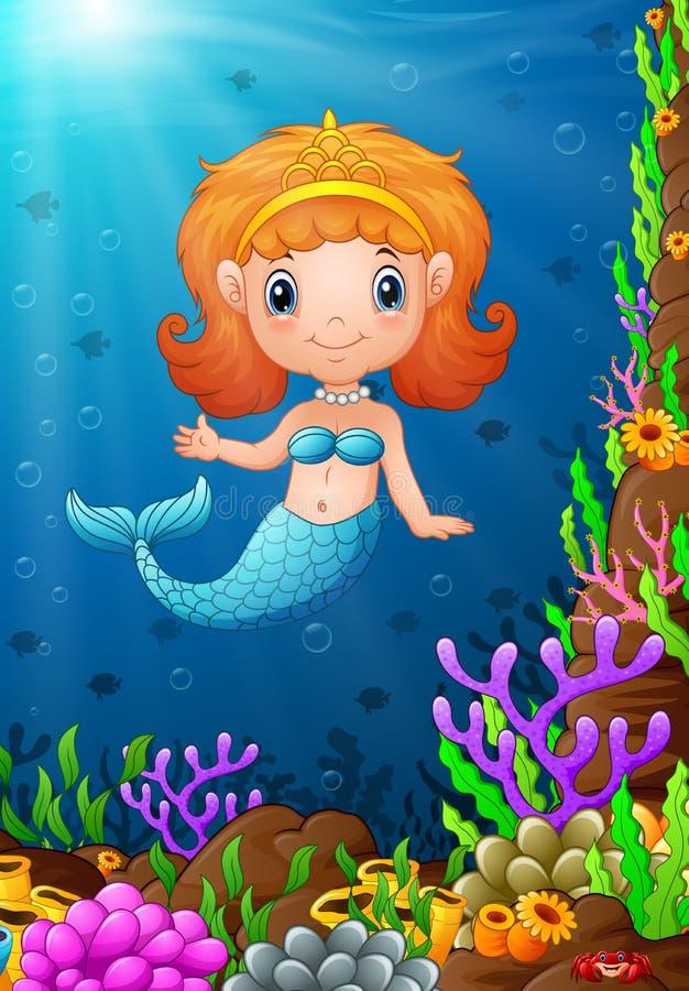 Lustige kleine Meerjungfrau der Karikatur unter dem Meer vektor abbildung