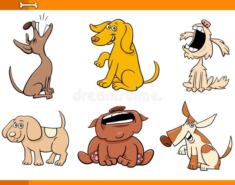 Lustige komische Hundezeichentrickfilm-figuren eingestellt stock abbildung