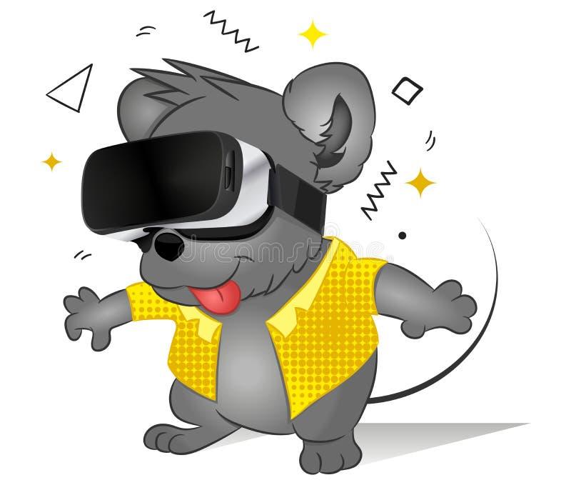 Lustige komische Maus unter Verwendung der Gläser der virtuellen Realität Zuk?nftige Technologie Nettes spielendes TierVideospiel lizenzfreie abbildung