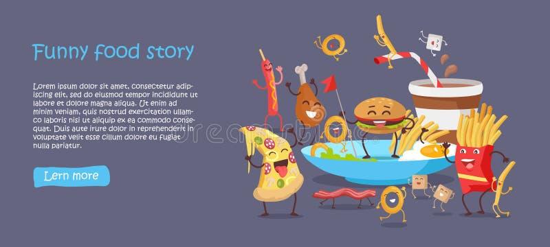 Lustige Lebensmittel-Geschichten-Begriffsfahnen-Website-Design vektor abbildung