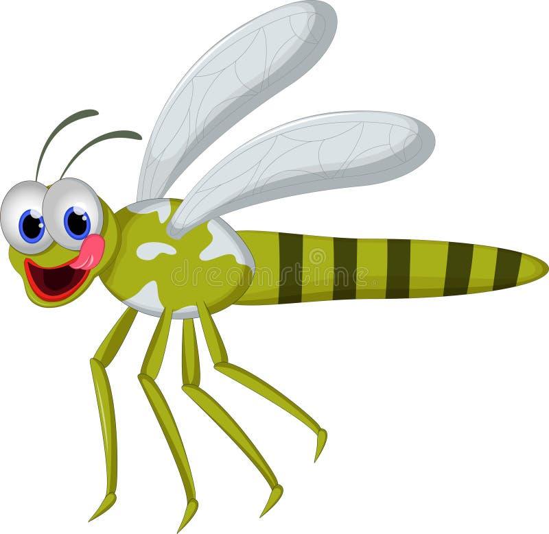 Lustige Libelle der Karikatur auf weißem Hintergrund lizenzfreie abbildung