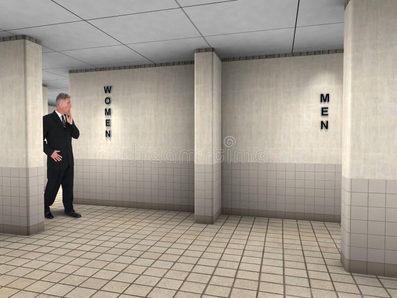 Lustige Mann-Unrecht-Öffentlichkeits-Toilette stockbild