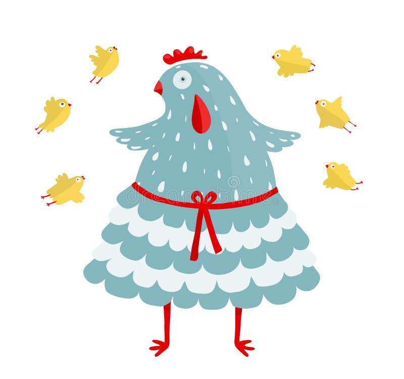 Lustige Mutter-Henne und ihr gelbes Huhn lizenzfreie abbildung