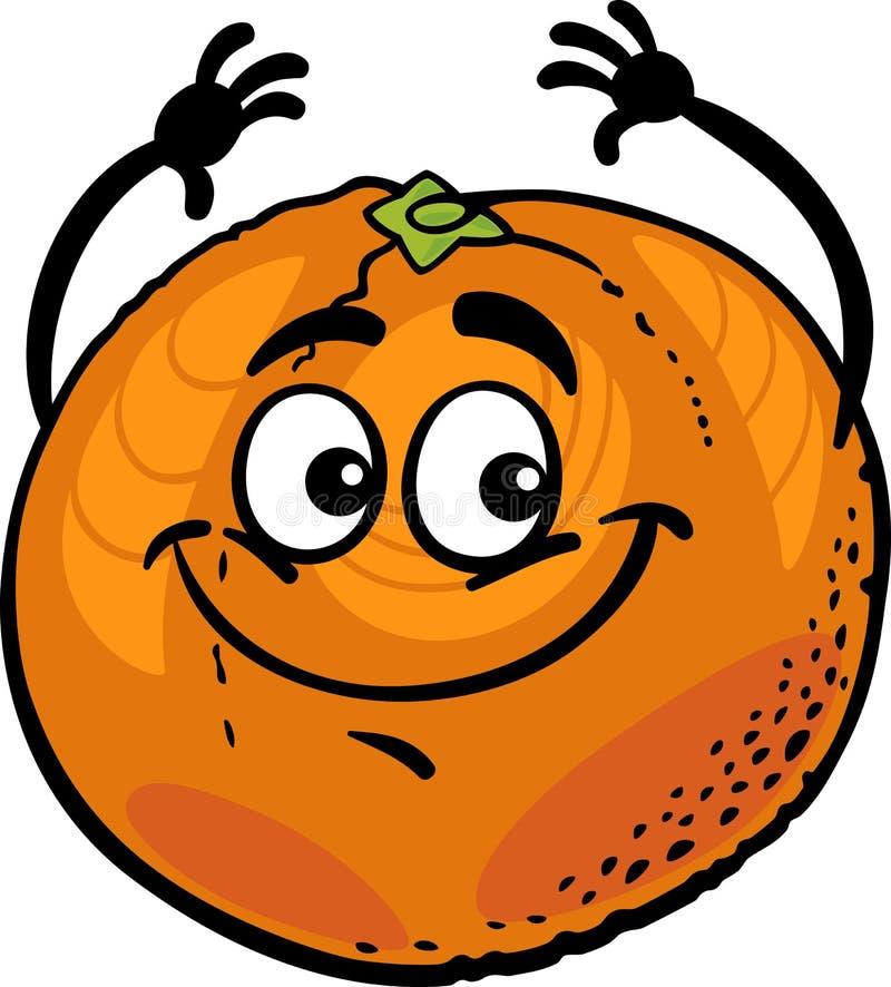 Lustige orange Fruchtkarikaturillustration lizenzfreie abbildung