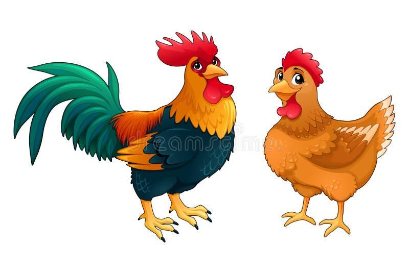 Lustige Paare des Hahns und der Henne lizenzfreie abbildung