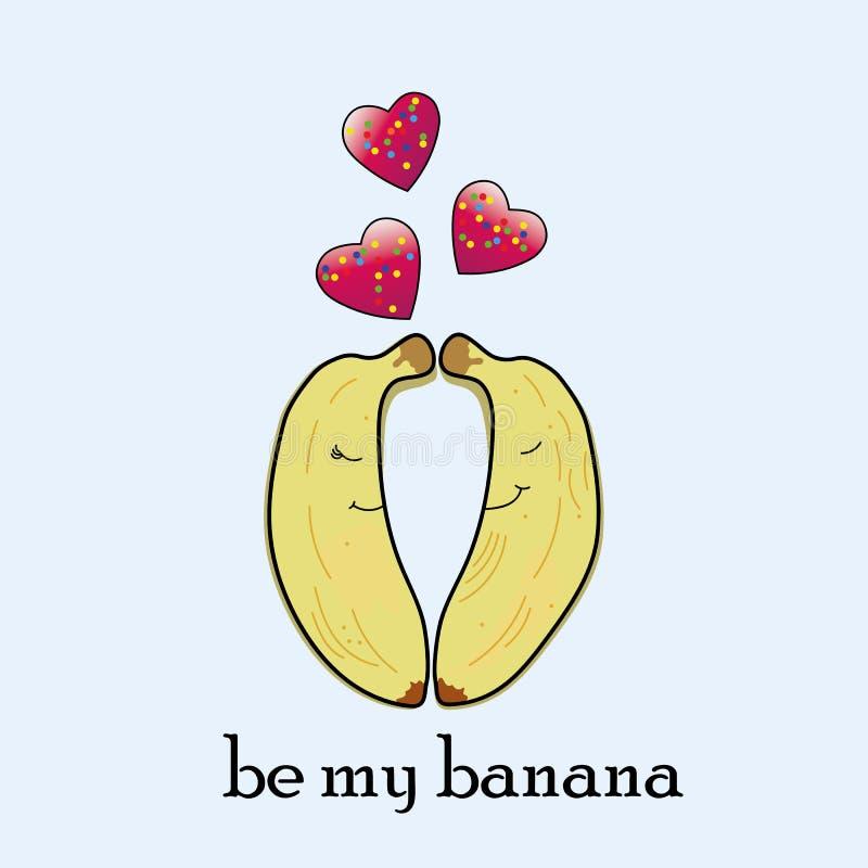 Lustige Paare von Bananen in der Liebe lizenzfreie abbildung