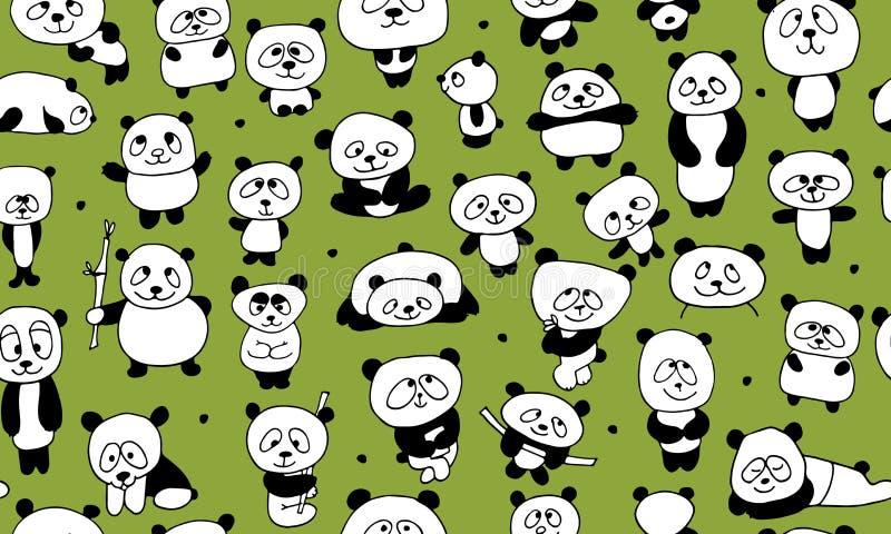 Lustige Pandas, nahtloses Muster für Ihr Design vektor abbildung