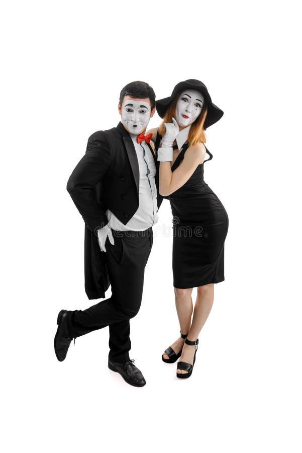 Lustige Pantomimen auf Weiß lizenzfreie stockfotos