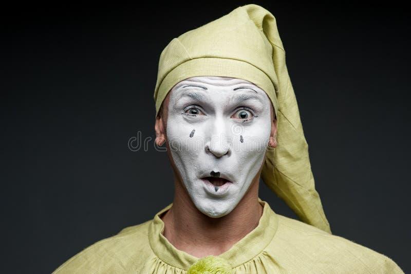 Lustige Pantomimeshow überraschte lizenzfreie stockfotografie