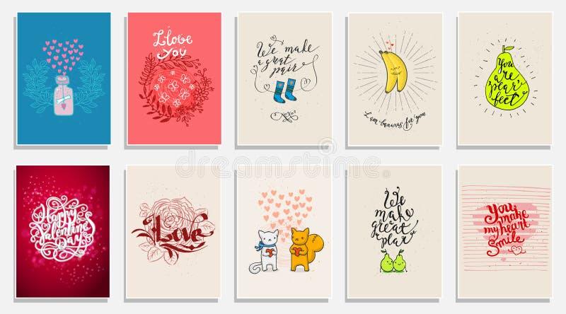 Lustige Phrasen über Liebe Handgezogene Valentinsgruß-Tageskarte mit lustiger Birne, Tieren, Bananen und Hand schriftlicher Anmer lizenzfreie abbildung