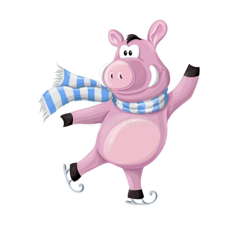 Lustige piggy, Ferkel in Winter s kleidet auf Rochen Auch im corel abgehobenen Betrag stock abbildung