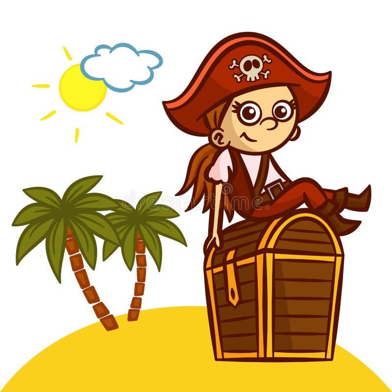 Lustige Piraten-Mädchen-Schatztruhe lizenzfreie abbildung