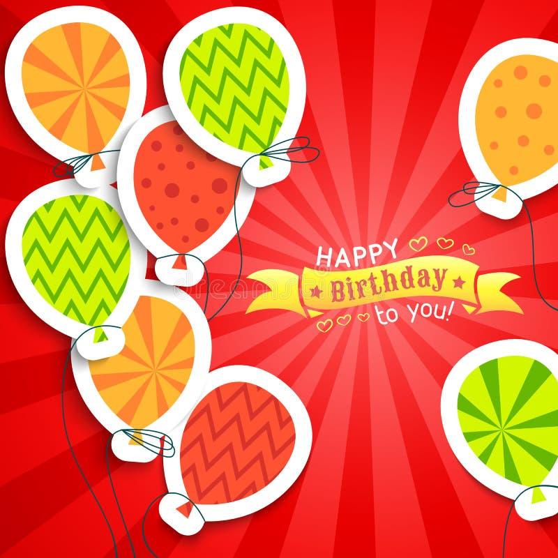 Lustige Postkarte alles Gute zum Geburtstag mit Ballonen lizenzfreie abbildung