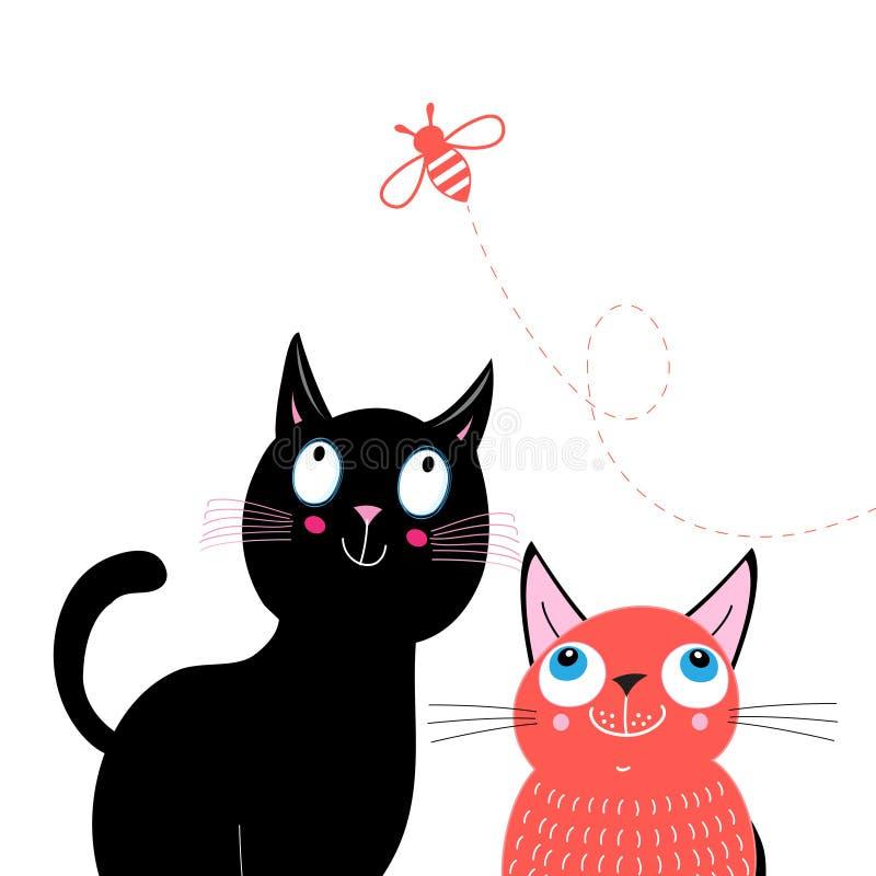 Lustige Postkarte mit Katzen und Biene stock abbildung