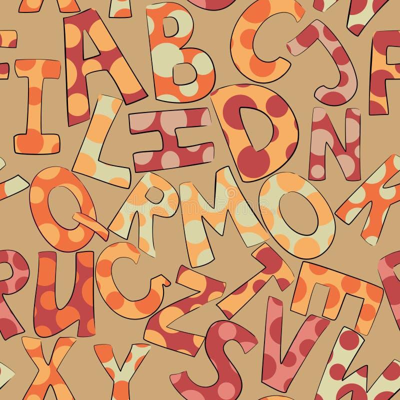 Lustige punktierte Buchstaben auf nahtlosem Muster des braunen Hintergrundes stock abbildung