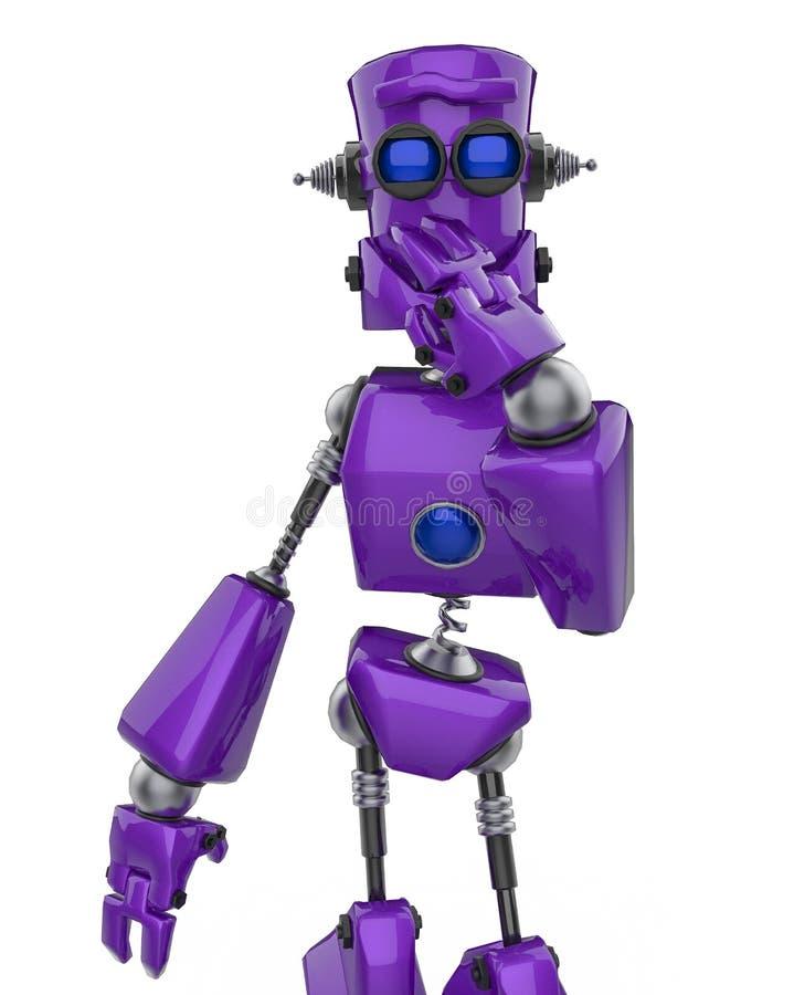 Lustige purpurrote Roboterkarikatur, die in einem weißen Hintergrund lacht vektor abbildung
