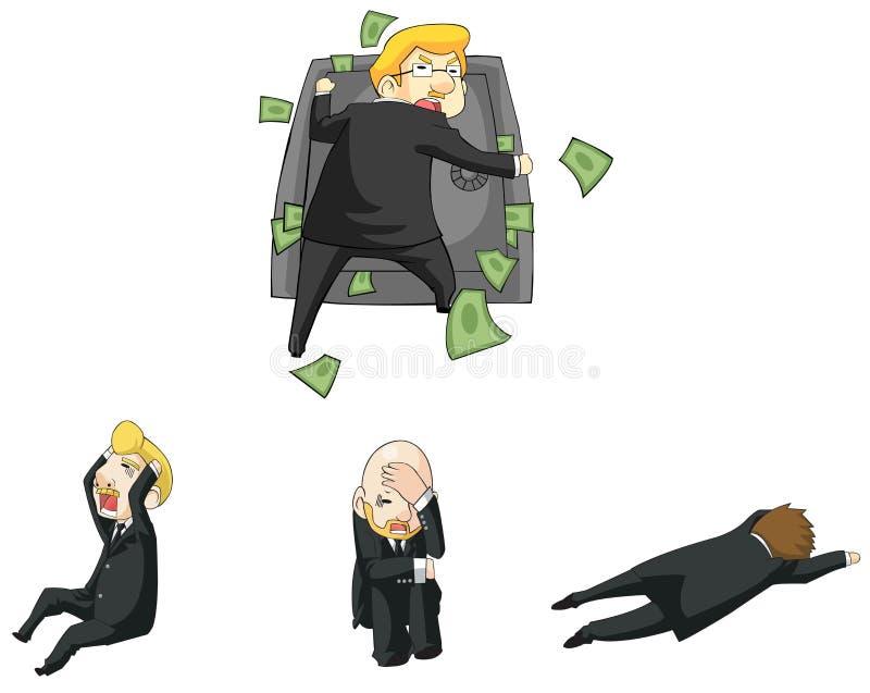 Lustige Reaktion des Geschäftsmannes in der Finanzkrise sitzen vektor abbildung