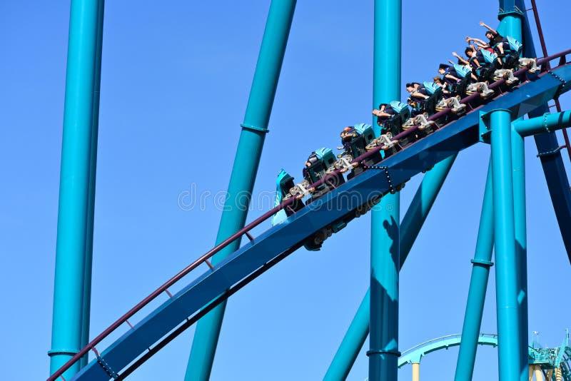 Lustige Reiter, die abwärts mit ihren Händen oben in Mako Roller Coaster an der Seaworld-Thema-Gleichheit genießen lizenzfreies stockfoto