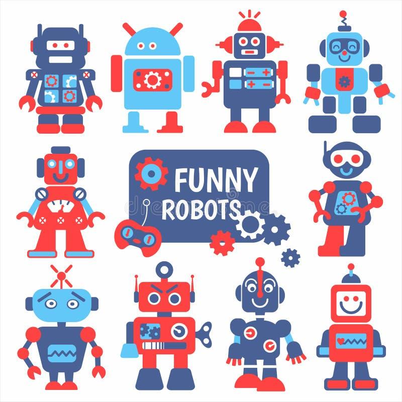 Lustige Roboter stellten ein stock abbildung