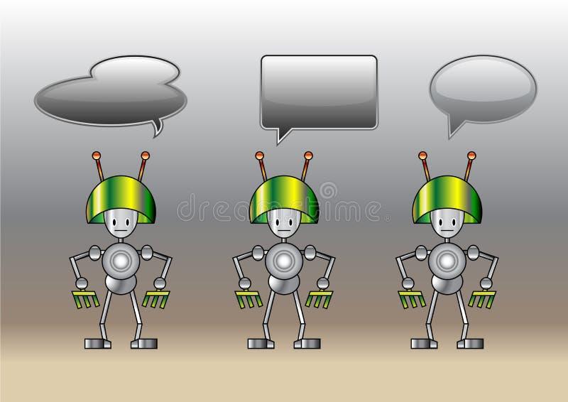 Lustige Roboter verziert mit Comicsluftblasen lizenzfreie abbildung