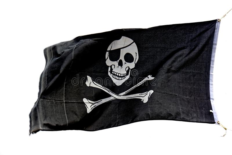 Lustige Roger-Piratenmarkierungsfahne stockbilder