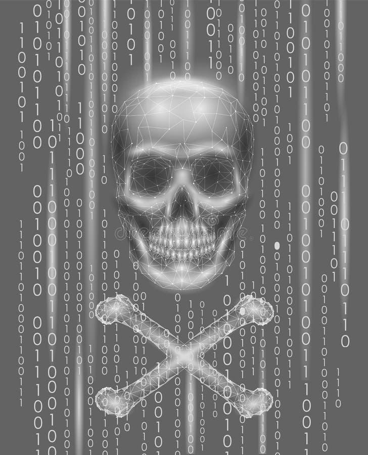 Lustige Roger-Schädelbinär code-Kennziffern Hackerpirateriecomputeron-line-Angriffsalarm Furchtsame warnende zerhackende Sicherhe vektor abbildung