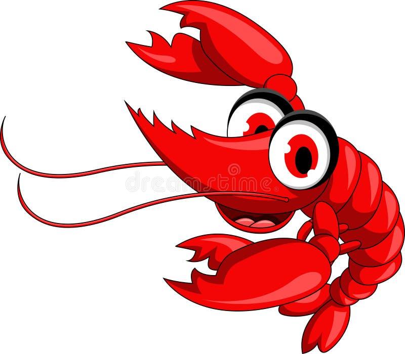 Lustige rote Garnelekarikatur lizenzfreie abbildung